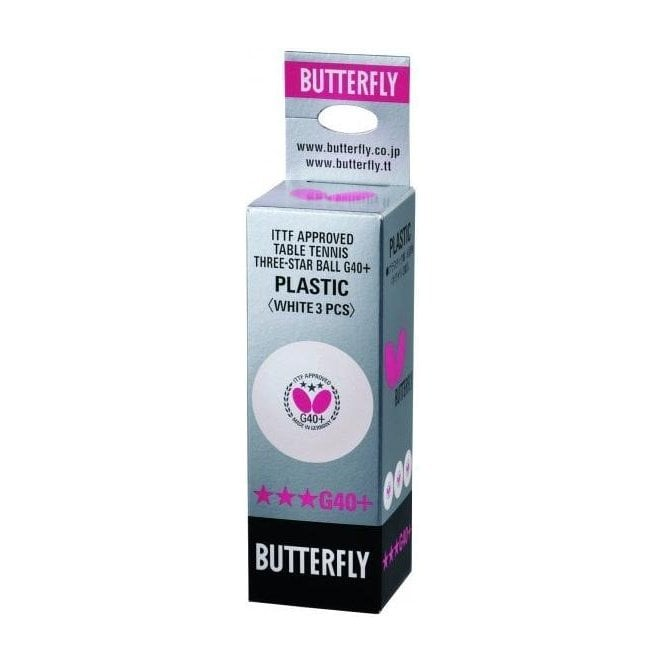 Butterfly G40+ 3* Table Tennis Balls - Box of 3