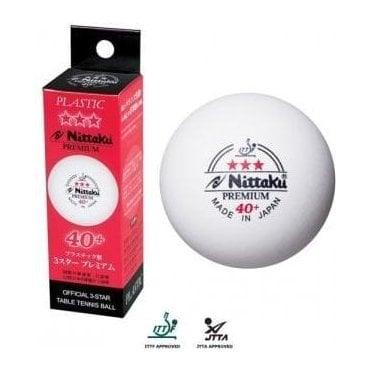 Nittaku Premium 40+ 3* Table Tennis Balls - Box Of 3