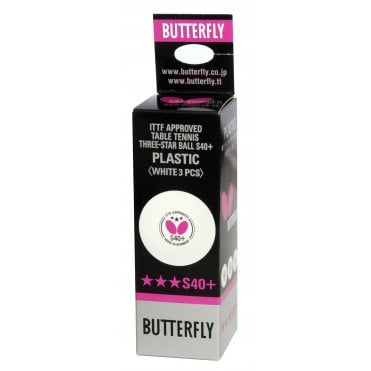 Butterfly S40+ Table Tennis Balls White - Box of 3